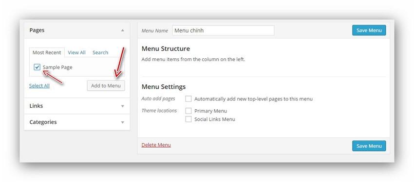 Hướng dẫn sử dụng menu cho wordpress chi tiết