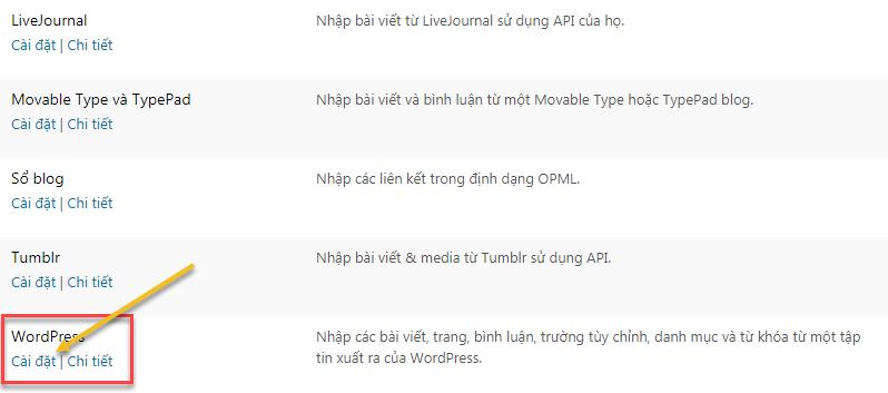 Công cụ xuất & nhập dữ liệu của WordPress